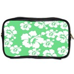Hibiscus Flowers Green White Hawaiian Toiletries Bags Front