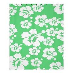 Hibiscus Flowers Green White Hawaiian Shower Curtain 60  X 72  (medium)