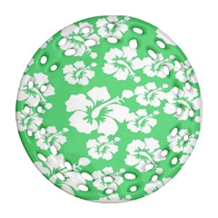 Hibiscus Flowers Green White Hawaiian Round Filigree Ornament (Two Sides)