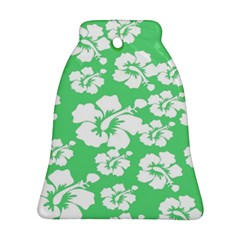 Hibiscus Flowers Green White Hawaiian Bell Ornament (Two Sides)