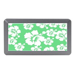 Hibiscus Flowers Green White Hawaiian Memory Card Reader (Mini)