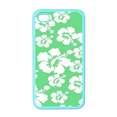 Hibiscus Flowers Green White Hawaiian Apple iPhone 4 Case (Color)