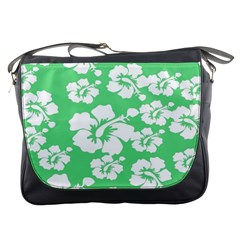 Hibiscus Flowers Green White Hawaiian Messenger Bags