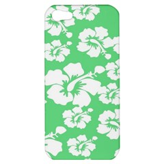 Hibiscus Flowers Green White Hawaiian Apple iPhone 5 Hardshell Case