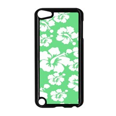 Hibiscus Flowers Green White Hawaiian Apple iPod Touch 5 Case (Black)