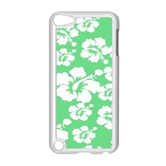 Hibiscus Flowers Green White Hawaiian Apple iPod Touch 5 Case (White)