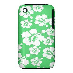 Hibiscus Flowers Green White Hawaiian iPhone 3S/3GS