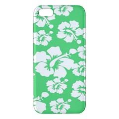 Hibiscus Flowers Green White Hawaiian Apple iPhone 5 Premium Hardshell Case