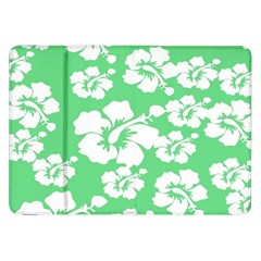 Hibiscus Flowers Green White Hawaiian Samsung Galaxy Tab 8.9  P7300 Flip Case