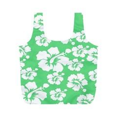 Hibiscus Flowers Green White Hawaiian Full Print Recycle Bags (M)