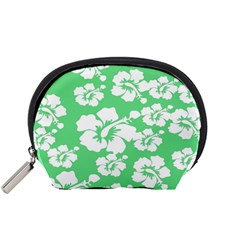 Hibiscus Flowers Green White Hawaiian Accessory Pouches (Small)