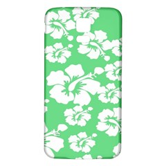 Hibiscus Flowers Green White Hawaiian Samsung Galaxy S5 Back Case (White)