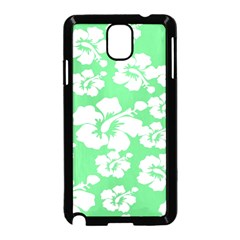 Hibiscus Flowers Green White Hawaiian Samsung Galaxy Note 3 Neo Hardshell Case (Black)