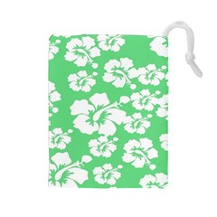 Hibiscus Flowers Green White Hawaiian Drawstring Pouches (large)