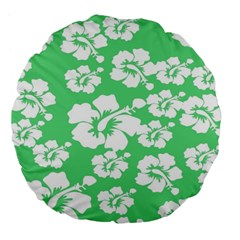 Hibiscus Flowers Green White Hawaiian Large 18  Premium Flano Round Cushions