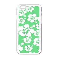Hibiscus Flowers Green White Hawaiian Apple iPhone 6/6S White Enamel Case