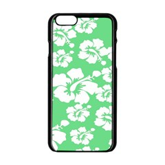 Hibiscus Flowers Green White Hawaiian Apple iPhone 6/6S Black Enamel Case