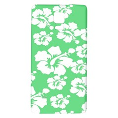 Hibiscus Flowers Green White Hawaiian Galaxy Note 4 Back Case