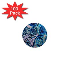 Green Blue Circle Tie Dye Kaleidoscope Opaque Color 1  Mini Magnets (100 pack)