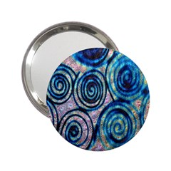 Green Blue Circle Tie Dye Kaleidoscope Opaque Color 2.25  Handbag Mirrors