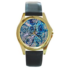 Green Blue Circle Tie Dye Kaleidoscope Opaque Color Round Gold Metal Watch