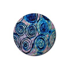 Green Blue Circle Tie Dye Kaleidoscope Opaque Color Rubber Round Coaster (4 pack)