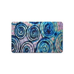 Green Blue Circle Tie Dye Kaleidoscope Opaque Color Magnet (Name Card)