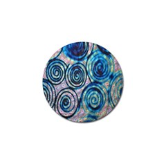 Green Blue Circle Tie Dye Kaleidoscope Opaque Color Golf Ball Marker (4 pack)
