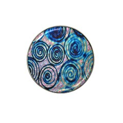Green Blue Circle Tie Dye Kaleidoscope Opaque Color Hat Clip Ball Marker (4 pack)