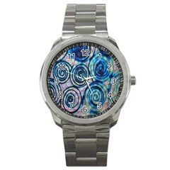 Green Blue Circle Tie Dye Kaleidoscope Opaque Color Sport Metal Watch