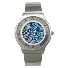 Green Blue Circle Tie Dye Kaleidoscope Opaque Color Stainless Steel Watch
