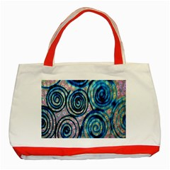 Green Blue Circle Tie Dye Kaleidoscope Opaque Color Classic Tote Bag (Red)