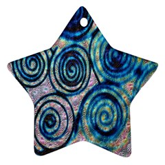 Green Blue Circle Tie Dye Kaleidoscope Opaque Color Star Ornament (Two Sides)