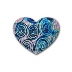 Green Blue Circle Tie Dye Kaleidoscope Opaque Color Heart Coaster (4 pack)