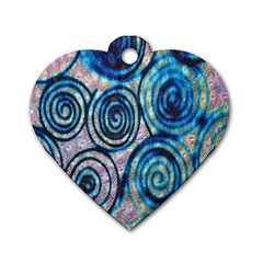 Green Blue Circle Tie Dye Kaleidoscope Opaque Color Dog Tag Heart (One Side)