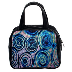 Green Blue Circle Tie Dye Kaleidoscope Opaque Color Classic Handbags (2 Sides)