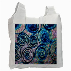 Green Blue Circle Tie Dye Kaleidoscope Opaque Color Recycle Bag (Two Side)
