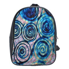 Green Blue Circle Tie Dye Kaleidoscope Opaque Color School Bags(Large)