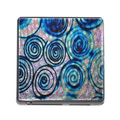 Green Blue Circle Tie Dye Kaleidoscope Opaque Color Memory Card Reader (Square)