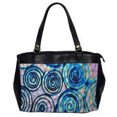 Green Blue Circle Tie Dye Kaleidoscope Opaque Color Office Handbags (2 Sides)
