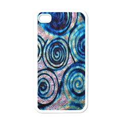 Green Blue Circle Tie Dye Kaleidoscope Opaque Color Apple iPhone 4 Case (White)