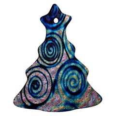Green Blue Circle Tie Dye Kaleidoscope Opaque Color Ornament (Christmas Tree)