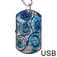 Green Blue Circle Tie Dye Kaleidoscope Opaque Color Dog Tag USB Flash (One Side)