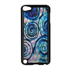 Green Blue Circle Tie Dye Kaleidoscope Opaque Color Apple iPod Touch 5 Case (Black)