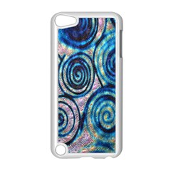 Green Blue Circle Tie Dye Kaleidoscope Opaque Color Apple iPod Touch 5 Case (White)