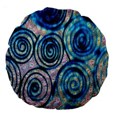Green Blue Circle Tie Dye Kaleidoscope Opaque Color Large 18  Premium Round Cushions