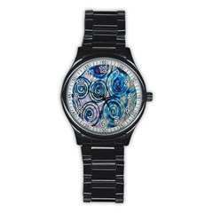 Green Blue Circle Tie Dye Kaleidoscope Opaque Color Stainless Steel Round Watch