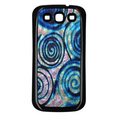 Green Blue Circle Tie Dye Kaleidoscope Opaque Color Samsung Galaxy S3 Back Case (black)