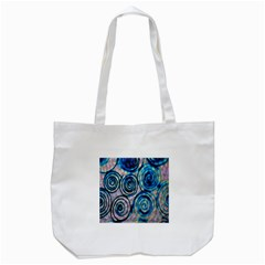 Green Blue Circle Tie Dye Kaleidoscope Opaque Color Tote Bag (White)