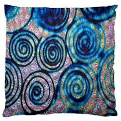 Green Blue Circle Tie Dye Kaleidoscope Opaque Color Large Flano Cushion Case (One Side)